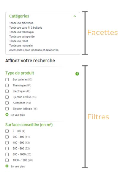 Exemple de facettes et de filtres