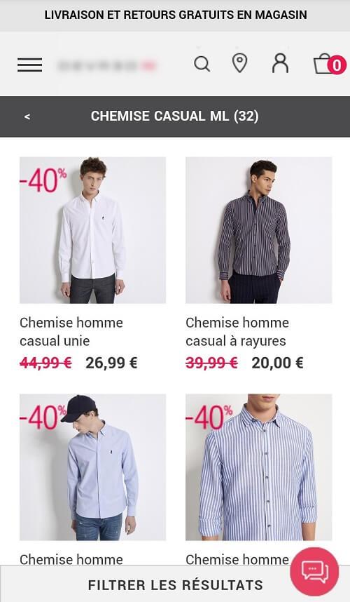 Site mobile de mode homme